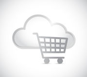Cloud computing and shopping cart illustration Stock Image