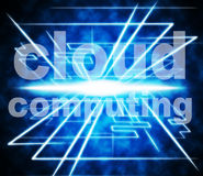 Cloud Computing Shows Network Server And Communication. Cloud Computing Meaning Computer Network And Infrastructure Royalty Free Stock Photography
