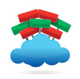 Cloud computing with sign around Stock Images