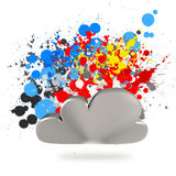 Cloud computing sign on splashing colors background Royalty Free Stock Images