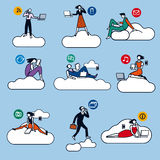 Cloud Computing Silhouettes Color Stock Image