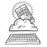 Cloud computing sketch Royalty Free Stock Image
