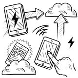 Cloud computing sketch. Doodle style cloud computing illustration showing data being uploaded into the cloud and downloaded to smartphones and mobile devices Stock Photo