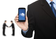Cloud computing on the smart phone royalty free stock photo