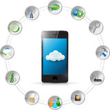 Cloud computing smartphone tools illustration Stock Photography