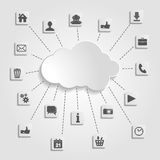 Cloud computing with social networks icons on a gray ba Royalty Free Stock Images