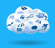 Cloud Computing on Solid Blue Background Royalty Free Stock Photo