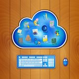 Cloud computing solution for business concept. Business management icons at blue cloud on wood table, keyboard and mouse plugged in. Cloud business management stock illustration