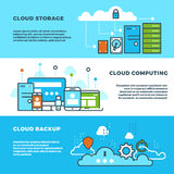 Cloud computing solution, data storage business services, information technology vector banners set Stock Photos