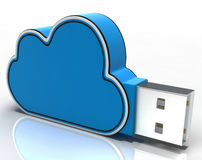 Cloud Computing Stick Shows Network Or Internet Storage Stock Image