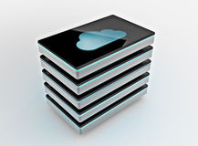 Cloud computing storage. Cloud storage drive array, 3D image royalty free stock photos