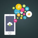 Cloud computing storage, applications on a mobile Stock Photo