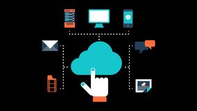 Cloud Computing Storage Data Animation Transparent Vector Motion Graphics Loop