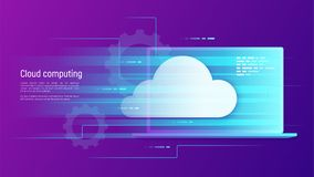 Cloud computing, storage, hosting, services, network management, stock illustration