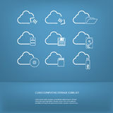 Cloud computing storage icons set Royalty Free Stock Photo