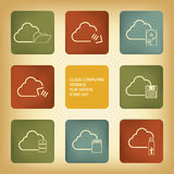 Cloud computing storage icons set Stock Photography