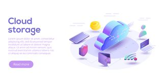 Cloud computing or storage isometric vector illustration. 3d con. Cept with smartphone and laptop gadgets. Online data transfer website header layout. Digital royalty free illustration