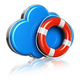 Cloud computing and storage security concept. Blue glossy cloud icon with red lifesaver belt isolated on white background with reflection effect Stock Photo