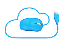 Cloud Computing Symbol with Computer Mouse Royalty Free Stock Images