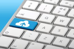 Cloud Computing Symbol on Keyboard Royalty Free Stock Photo