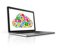 Cloud Computing Symbol on a laptop. Isolated on white with clipping path Royalty Free Stock Images