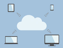 Cloud computing symbol and multiple devices. Stock Photo