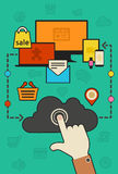 Cloud computing and synchronization concept Royalty Free Stock Image