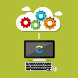 Cloud computing syncing process. Technology background. Royalty Free Stock Photo