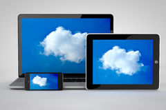 Cloud computing with tablet. Computer and smartphone and laptop Stock Image