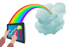 Cloud computing with tablet PC. Illustration of hand holding tablet PC connected to cloud server Stock Image