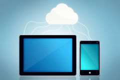 Cloud Computing. With tablet and smartphone Stock Images