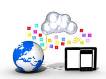 Cloud computing - tablet - smartphone - media icons Stock Photos