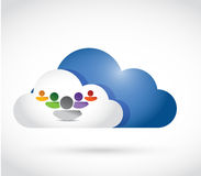 Cloud computing team illustration design. Over a white background Royalty Free Stock Image