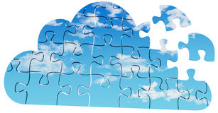 Cloud computing tech puzzle solution. Pieces of jigsaw puzzle are solution to server and client Cloud Computing problems