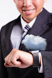 Cloud computing tech with smart watch Stock Image