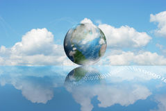 Cloud Computing technology. Illustrated with digits and a moving earth in sky