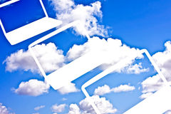 Cloud Computing Technology. Concept - laptops in cloudscape Stock Photography