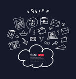 Cloud computing technology abstract sketchy scheme on dark background. Eps10 vector illustration. Stock Image
