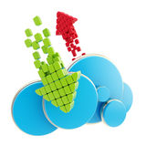 Cloud computing technology blue icon vector illustration