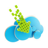 Cloud computing technology blue icon Stock Image