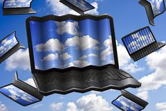 Cloud Computing Technology Concept. Laptops flying in the clouds Royalty Free Stock Photos