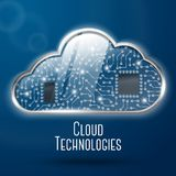 Cloud computing technology concept illustration. Steel with glass cloud and clockwork microchips undercover. With place for your text. Vector illustration Stock Images