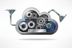 Cloud. Computing and technology concept, metal  with gears Stock Photo