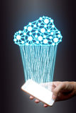 Cloud computing, technology connection concept, Businessman usin Stock Photo