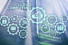Cloud Computing, Technology Connectivity Concept on server room background.  stock photography