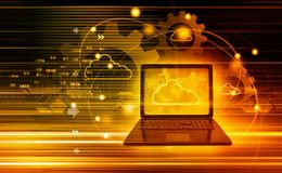 Cloud computing technology. 3d illustration Royalty Free Stock Photos