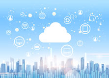 Cloud Computing Technology Device Internet Data Information Storage City Skyscraper View Cityscape Background Stock Photo
