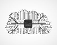 Cloud computing technology in an electronic circuit chip. Design elements. Royalty Free Stock Photo