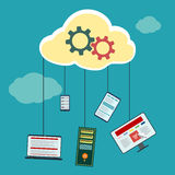 Cloud computing technology. With electronics. Stock  illustration Stock Image