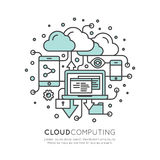 Cloud Computing Technology, Hosting, Cloud Management. Vector Icon Style Illustration of Cloud Computing Technology, Hosting, Cloud Management, Data Security Royalty Free Stock Images